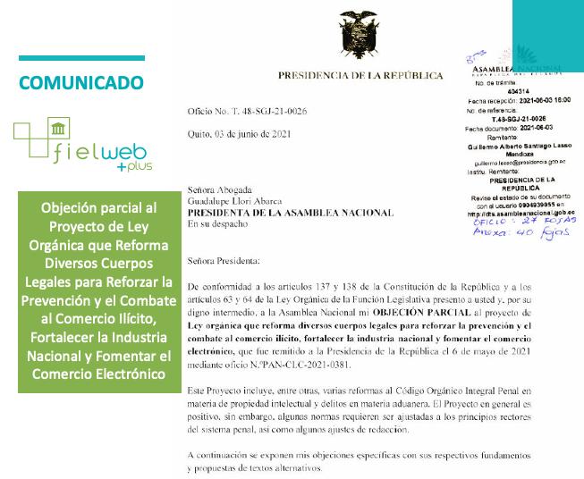 Objeción parcial al proyecto de Ley para Combatir el Contrabando
