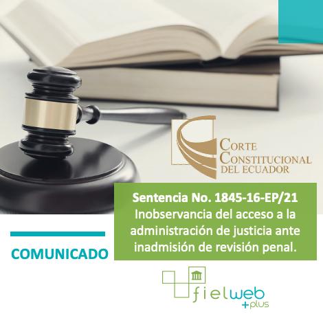 Sentencia 1845-16-EP/21