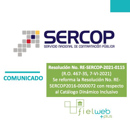 Resolución No. RE-SERCOP-2021-0115
