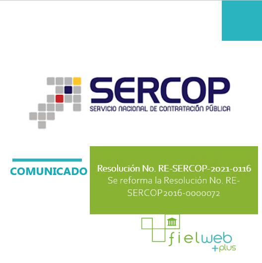 Resolución No. RE-SERCOP-2021-0116
